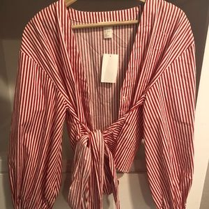 Cute Pink and White Lined Wrap Top